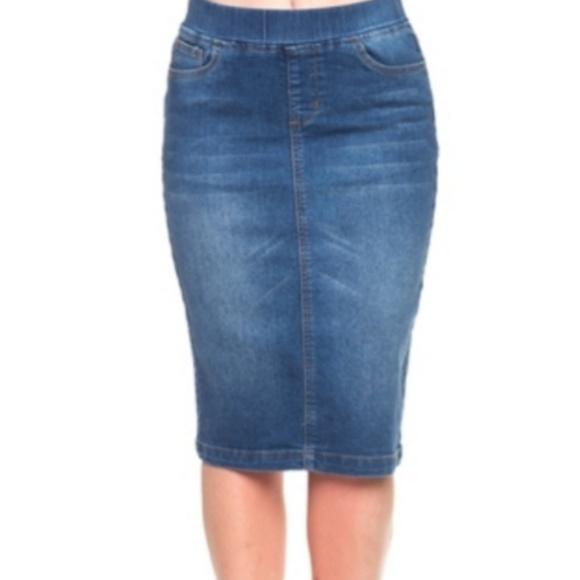 get cheap big sale shop best sellers Elastic Waist Stretch Denim Skirt NWT
